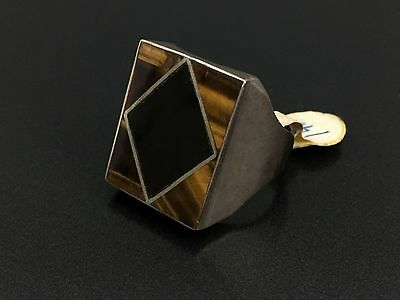 Vintage Mexico Sterling Silver Tiger Eye Onyx Ring Size 11