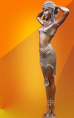 Art Deco Chiparus Illusion Hot Cast Bronze Light Patina Statue Figure Figurine