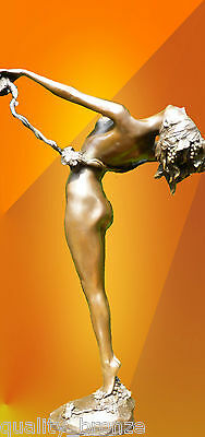 Art Deco  Vine  Signed, Nude Bronze Statue Figurine Hot Cast Figure