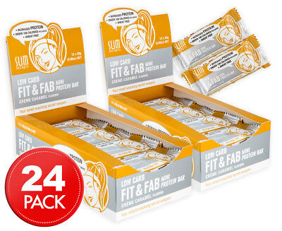 12 x Slim Secrets Fit & Fab Mini Protein Bar Crème Caramel 28g