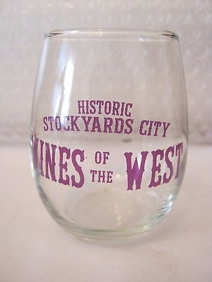 "Historic Stock Yards City Wines Of The West, Wine Glass, 3 1/8"" tall (013-4)"