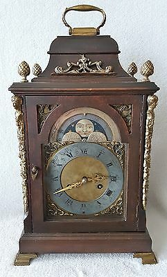 Bracket Clock 1920s Urgos 8 Day Pendulum Movement With Gong Moonphase German