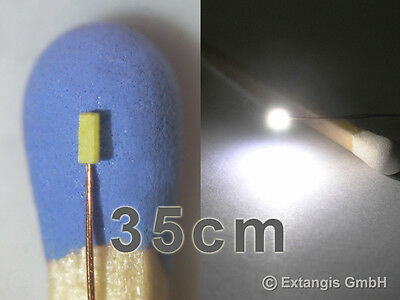 10x SMD LED 0401 PUR WEISS Cu-Draht 0,1mm 35cm XL wit copper wire long version