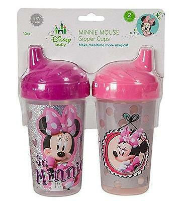 2 New Kids Disney Minnie Mouse Clubhouse Sippy Cups 10Oz Cup Bpa Free Sipper