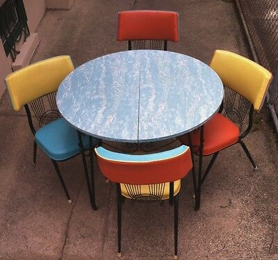 1950's Blue Marbleized Formica Table w/ 4 Chairs Turquoise Orange & Yellow Trim