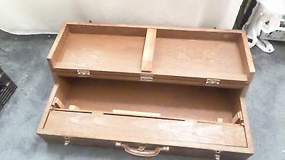 """Vintage Wood  Carry Toolbox Leather Handle 32.75"""" x 16"""" x 7"""""""