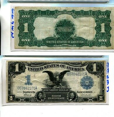 1899 $1 Black Eagle Silver Certificate Large Size Currency Note Fine 7723J
