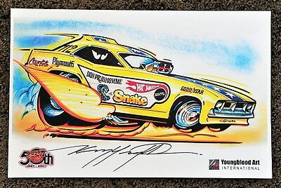 50Th Kenny Youngblood Signed The Snake Don Pruhdomme Funny Car Hot Wheels Print
