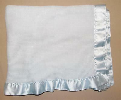 Bright Future Blue Waffle 100% Acrylic Thermal Baby Blanket Satin Trim Infant