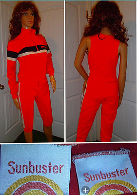 vtg 70's SUNBUSTER red polyester track warm up suit capri crop pant womens small