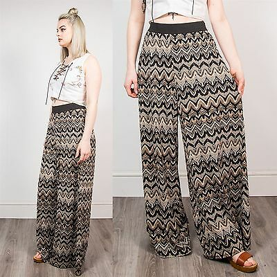 Retro Womens Wide Leg Trousers Brown Funky Pattern Summer Festival Boho 14