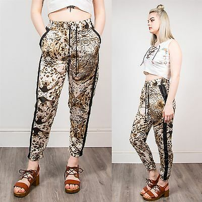 Womens Leopard Print Harem Trousers Animal Pattern Jogger Style Loose Fit 6