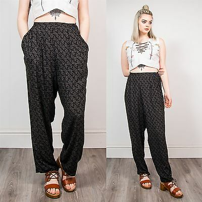Vintage 90's Black Leaf Pattern Wide Leg Trousers Loose Fit Grunge Hippie 18
