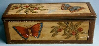 Vintage Biscuit Tin with Butterflies & Berries by W & R Jacobs & Co. Ltd
