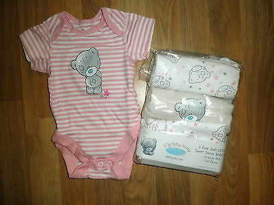 3 Pack Cotton Short Sleeved Bodysuits , Vests Newborn Tatty Teddy Me to You M&S