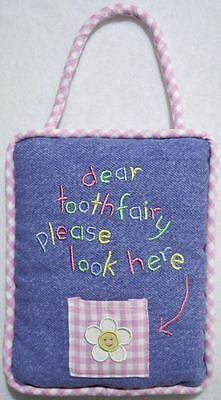 """Girls Embroidered Blue Denim & Pink Gingham Tooth Fairy Pillow 6"""" X 7""""~New~Sale!"""