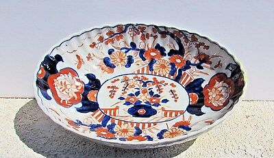 Antique 19th Century Imari Porcelain Fluted Scalloped oval Bowl