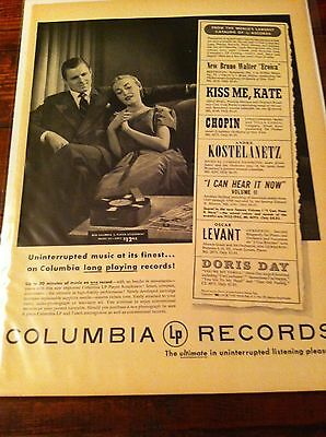 Vintage 1950 Columbia Long Play Records Uninterrupted Music Loving Couple ad
