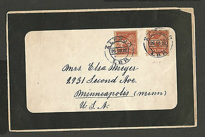 1922 Sweden 5 Ore Coil stamps on mourning cover Alesjo to USA Minneapolis
