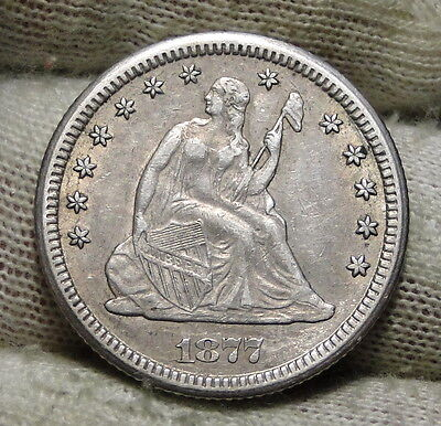 1877-CC 25C Liberty Seated Quarter, Nice Coin, Free Shipping (5636)