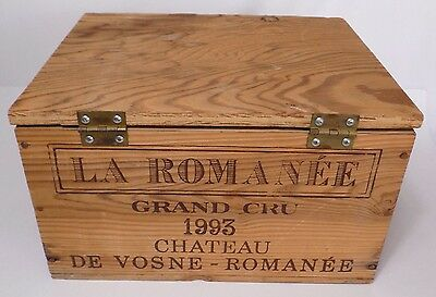 La Romanee Grand Cru 1993 Chateau Vosne Vintage Wood Hinged Wine Box Panel Crate