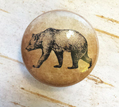 "Bear Birch Knob, Handmade Drawer Pull, 1.5"" Wildlife Cabinet Pull Handle"