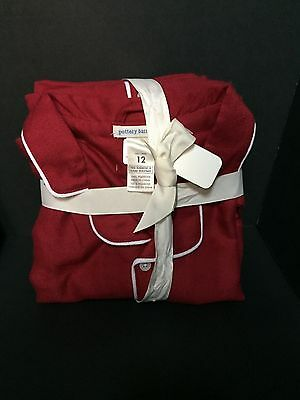 SZ12 Pottery Barn Kids Solid RED Flannel Pajamas PJ Christmas Valentine GIFT NEW
