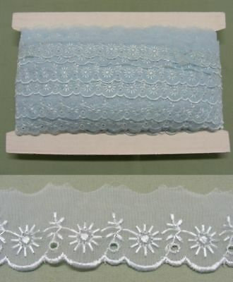 Embroidered Organza Lace  Blue  No 1 X 17  mts