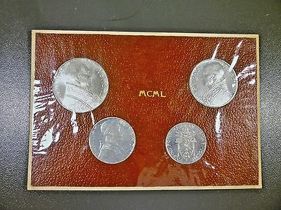Vatican 1950 4 Piece Papal Set Beautiful Coins In Original Holder
