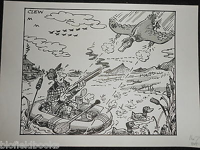 "CLIFFORD C LEWIS ""CLEW"" Original Pen & Ink Cartoon - Wildfowling/Shooting #391"