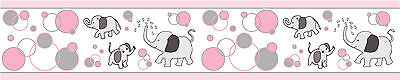 One Pink Gray Elephant  Wall Border 6 in. x 15 ft per Roll