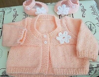 Hand Knitted Girls Peach Cardigan and Shoe Set for 0-3 months