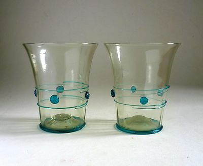 James Powell & Sons Glass RARE PAIR of trailed VASES. c.1900 Antique Whitefriars