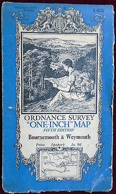 OS 1939 COLOURED PAPER 'ONE-INCH' MAP No 140 of BOURNEMOUTH & WEYMOUTH 1s. 9d.