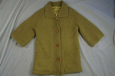 Vtg 60s Womens Yellow Short Sleeve Wool Cardigan Sweater Mod Hollywood Nice!
