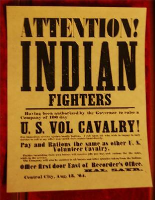 U S Volunteer Cavalry Indian Fighters Wanted Poster