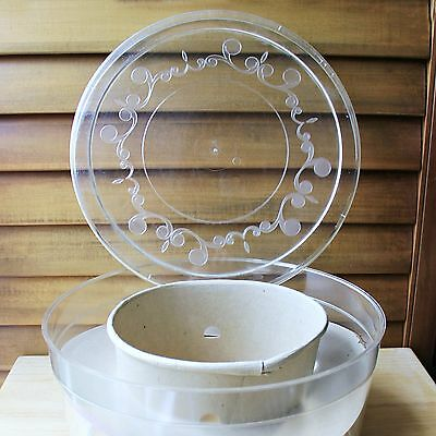 Vintage Clear Plastic Hat Box with Insert Decorative Lid Made in USA Container