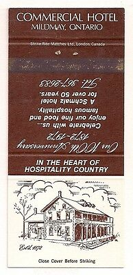 Commercial Hotel Mildmay ON Ontario Matchcover 050317