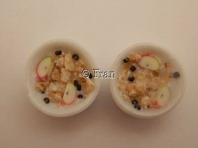 Dolls house food: Two bowls of breakfast fruit museli -By Fran