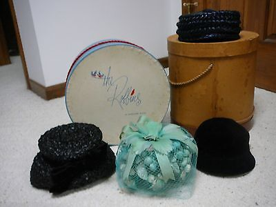Four  Vintage Women's Hats - with two hat boxes