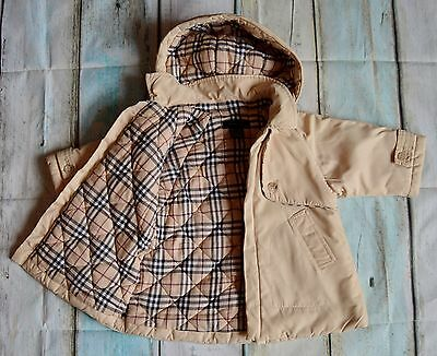 Burberry Baby Boy/Girls Designer Padded Trench Coat Big Fitting 3 Months Vgc