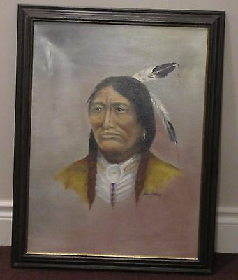 Painting Sitting Bull Oil On Canvas Artist Signed Canadian Artist Passed 2011