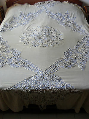 Beautiful Antique Coverlet With Handmade Lace