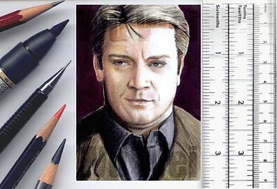 Richard Castle Nathan Fillion ACEO SketchCard original pencil artwork Wu Wei