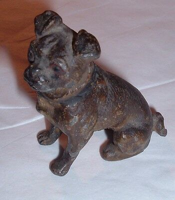 ANTIQUE Authentic Victorian Era PUG DOG Figure Metal /Austrian Most Likely 1800s