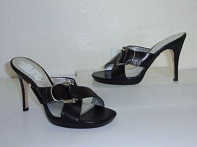 a5613224f5494e Calvin Klein Black Leather Heels Size 7 Shoes Slides Sandals