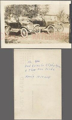 Vintage Car Photo Postcard Matching Model T Ford Automobiles 768230