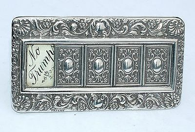 Antique Hm 1905 Sterling Silver Whist Playing Cards Trump Marker