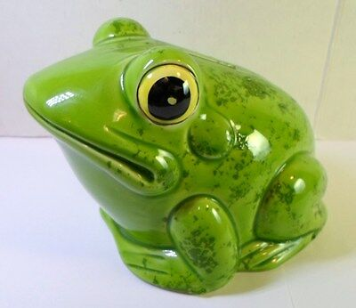 Vintage BIG GREEN BULL FROG POTTERY PIGGY BANK by Nancy Lopez Inc Made In Japan