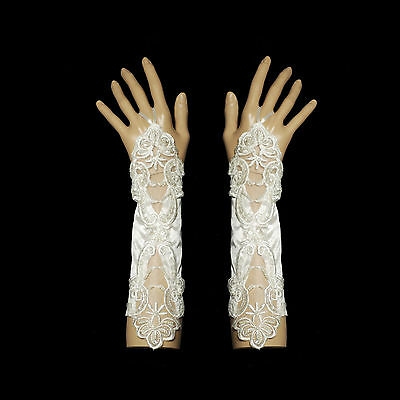 New Ivory Fingerless Satin and Lace Wedding Gloves